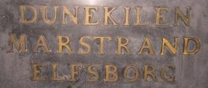 Namnen på de platser, där Tordenskiold vann sina största framgångar, finns på hans sarkofag.