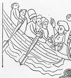 Roddfarkost i medeltida laghandskrift. John Kraft påpekar, att större riksbildningar uppstod i Norden samtidigt som man började använda segelfartyg, som bör ha underlättat långväga förbindelser.