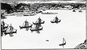 Segelfartygen var en förutsättning för vikingatiden. John Kraft hävdar med goda skäl att de var en förutsättning även för större riksbildningar i Norden. Bild från Snorres kungasagor.