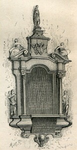 Johan de Mornays epitafium i Riddarholmskyrkan. (Bildkälla: Sveriges historia från äldsta tid till våra dagar III, 1878.)