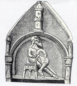 Stormannen håller visserligen sin hand på svärdet, men han har inte dragit det. Vikingatidens och medeltidens människor kunde även förhandla vid ting och kungamöten. Stenarbete från Heda kyrka i Östergötland. (Bildkälla: Hans Hildebrand, Sveriges medeltid.)