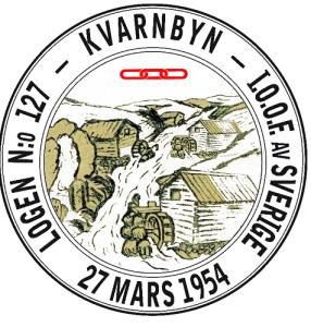 Märket för logen nummer 127 Kvarnbyn visar Mölndalsfallen i gången tid.