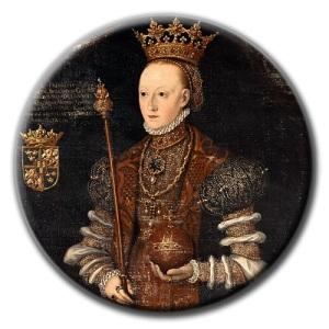 Margareta Leijonhufvud med drottningkrona, riksäpple och spira.