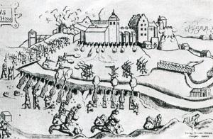 Bohusiska smällen under belägringen av Bohus slott 1566. Vykortsbild.