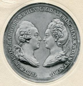 Gustaf III och Sofia Magdalena på en medalj.
