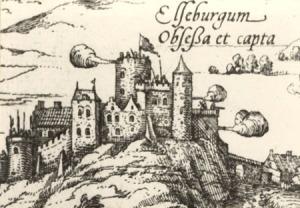Älvsborgs slott nybyggdes av sten på Gustaf Wasas tid, men trots detta såg slottet på hans tid ännu ut som en medeltida borg. Bild från Älvsborgs belägring 1563.
