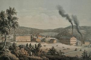 Alafors är en av de fabriksorter, som får en utförlig beskrivning. Litografi ur Sveriges industriella etablissementer.