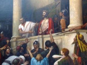 Pilatus visar upp den lidande Jesus för folket.