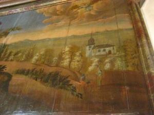 Två män en häst och en kyrka, som kan ha haft Kareby kyrka som förebild. Del av väggmålning från 1751 i Kareby kyrka. Foto: Lars Gahrn.