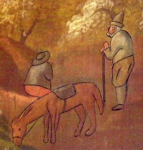 Männen och hästen på väggmålningen med förtydligande ytterstreck.