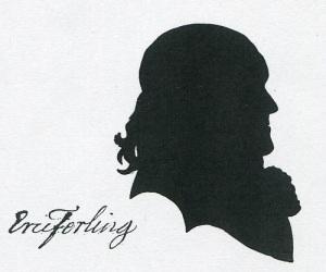 Konsertmästaren och tonsättaren Eric Ferling (omkring 1733-1808) förflyttade sig under sitt liv från väster till öster, från Åby i Mölndal till Åbo i Finland. Samtida silhuettbild.