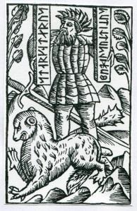 Kämpen Starkodder. Träsnitt i Olaus Magnus' krönika.