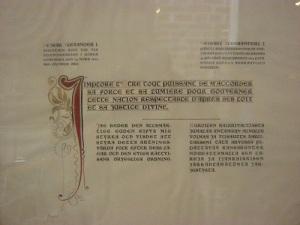 Tsar Alexanders bön, översatt och inramad, i Borgå domkyrka.