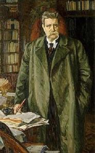 Hjalmar Branting var socialdemokratins ledare under det demokratiska genombrottet. År 1917 blev han finansminister. Oljemålning av Richard Bergh.