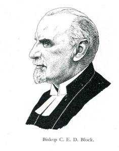 Biskop C.E.D. Block. Teckning: Arvid Carlson 1945.