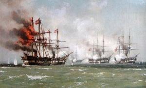 Schwarzenberg har skjutits i brand av danskarna. En av flera oljemålningar, som visar slaget vid Helgoland.