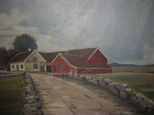 Solsten – en kringbyggd gård i Råda. På denna målning ser man porten, som kunde bommas för inifrån. Foto: Lars Gahrn.