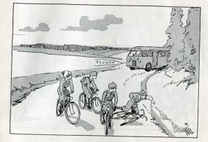 Pojkar cyklar i bredd, när bussen kommer. Bild ur Wilhard Stockelids och Arvid Ahlbergs bok om Bertil och Nisse i trafikvimlet.