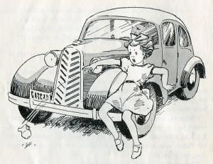 Flickor vimsade enligt denna bok inte omkring på cykel. Däremot kunde de springa ut framför bilar. Bild ur Wilhard Stockelids och Arvid Ahlbergs bok om Bertil och Nisse i trafikvimlet.
