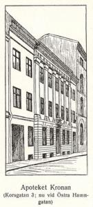Apoteket Kronans nyinredning kan ses som en förövning till Cavallis restaurering av Gunnebo. Bakom en klassicistisk fasad doldes en rik och smakfull inredning. Bild hos C.R.A. Fredberg.