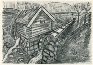 Kvarnen i Lackarebäck kan ge en föreställning om hur kvarnen i Gunnebo kan ha sett ut. Sigfrid Eyton tecknade denna bild i efterhand med ledning av äldre mölndalsbors berättelser. (Mölndals Hembygdsförenings bildarkiv.)