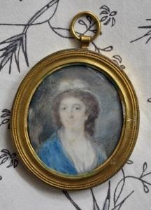 Christina Hall enligt ett miniatyrporträtt på Gunnebo. Hon var på sin tid en av Västsveriges stora kulturpersonligheter. Foto: Anna Jolfors.