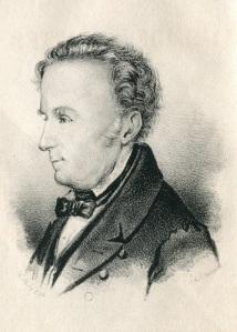 J. A. Wadman, skalden från Göteborg, skrev även en dikt med anknytning till Mölndal. Han flyttade inte, och möjligen därför blev han känd bara i Västsverige. Gammal litografi, gjord efter hans död.