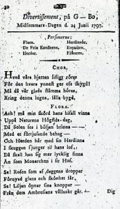 """Under den gustavianska tiden lät man ofta bli att sätta ut sitt namn i tryckta skrifter. Skalden Olof Benjamin Lund skrev sig enbart """"L*"""". I sitt kända divertissement skrev han som synes Gunnebo """"G - Bo""""."""