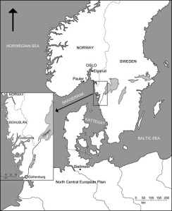 Kartan visar Hensbackakulturens huvudområde.