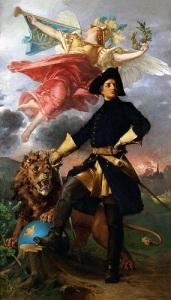 Karl XII och ryktets gudinna, Fama, med trumpeten. Målning av Julius Kronberg.