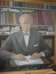 Axel Adler på en oljemålning i Göteborgs Universitets huvudbyggnad. Foto: Lars Gahrn.