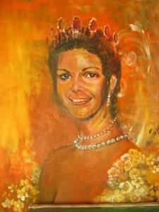 Drottning Silvia, avporträtterad av Birgitta Arkenback.