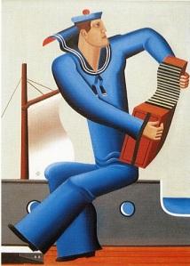 Sjöman spelar dragspel. Målning av Esaias Thorén 1929.