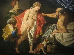 Målningen visar Sara, Hagar och Abraham. Sara ger sin tjänstekvinna Hagar till Abraham.